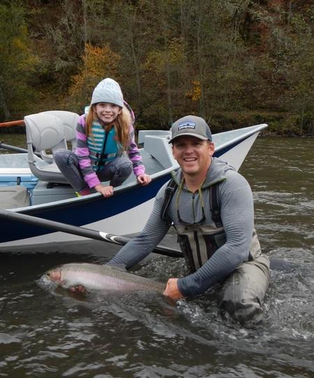 Superguide BTW with his 9 Year Old Niece's Steelhead